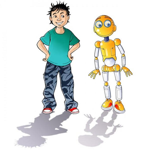 boy and robot cartoon.