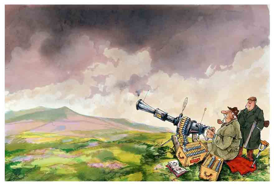 Moorland scene with gamekeeper and hunter the latter with a machine gun. Cartoon illustration