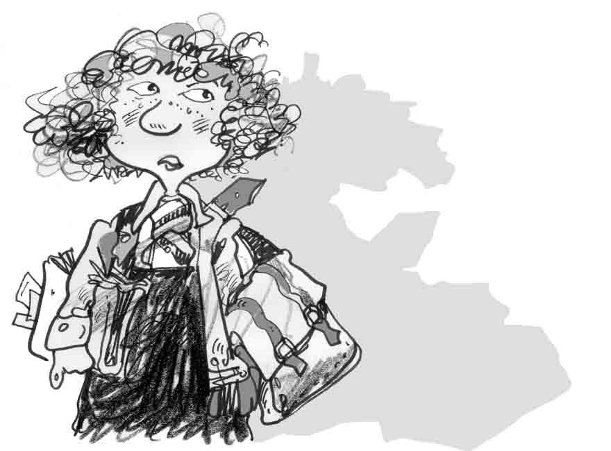 Schoolgirl with books cartoon illustration