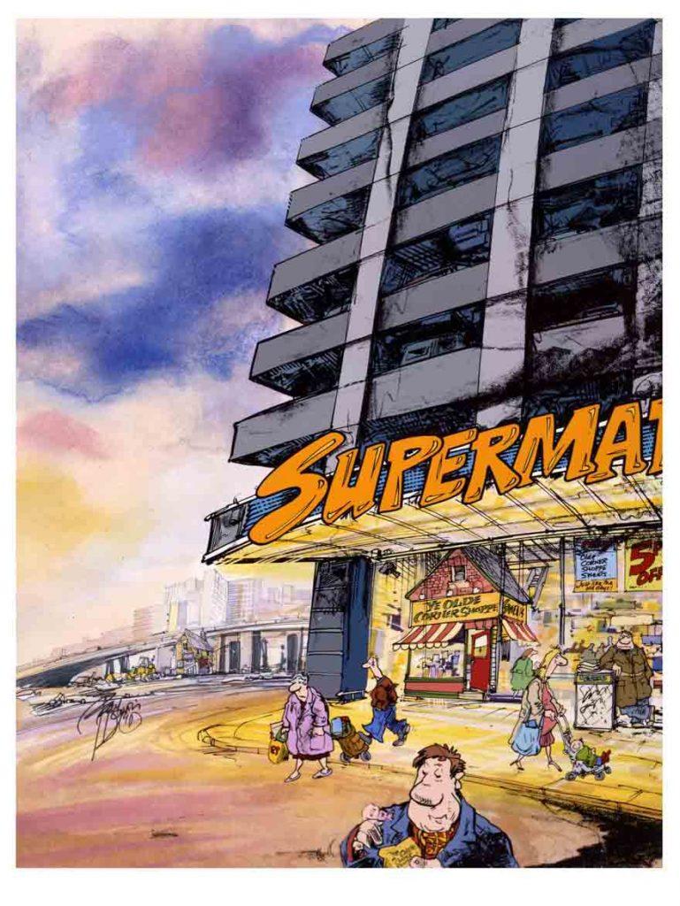 Supermarket with old corner shop cartoon illustration