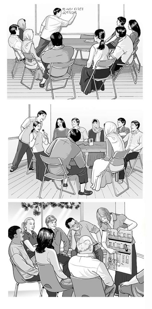 Greyscale illustrations of people in meetings.