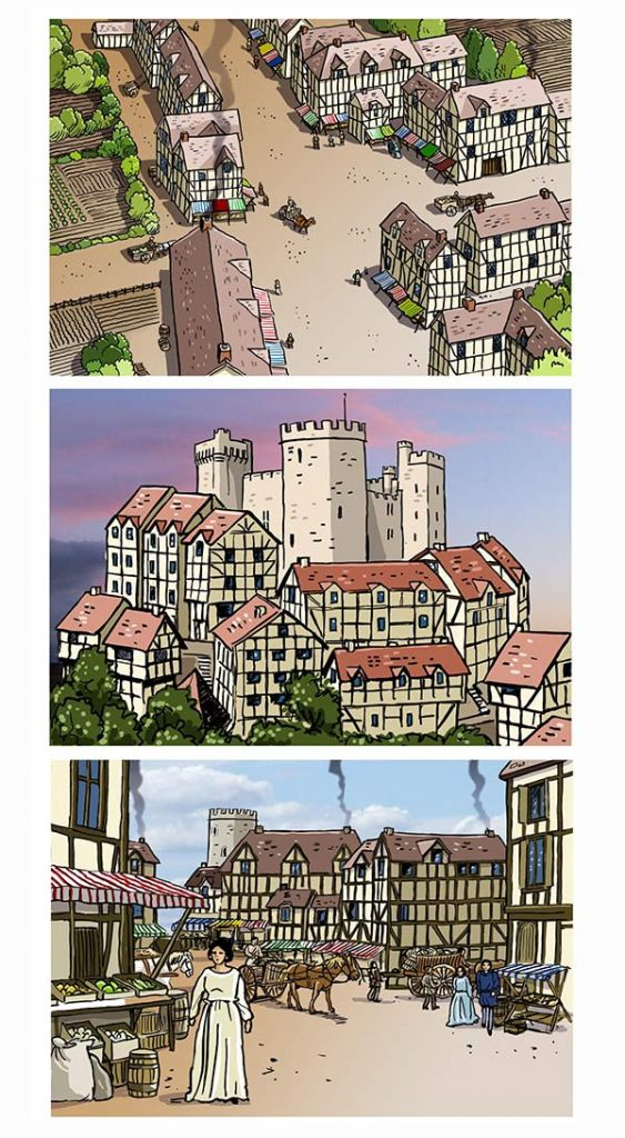 medieval town illustrations