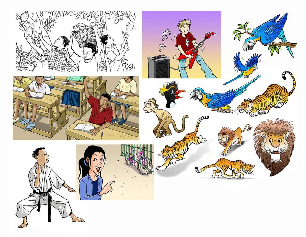 Various cartoon illustrations.
