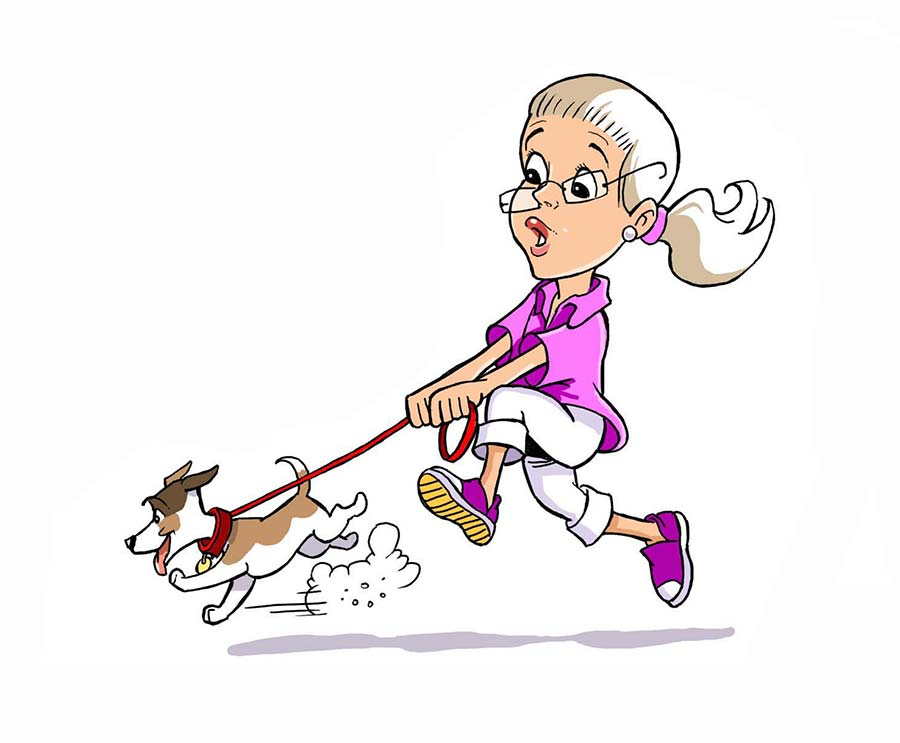 Woman walking puppy cartoon.