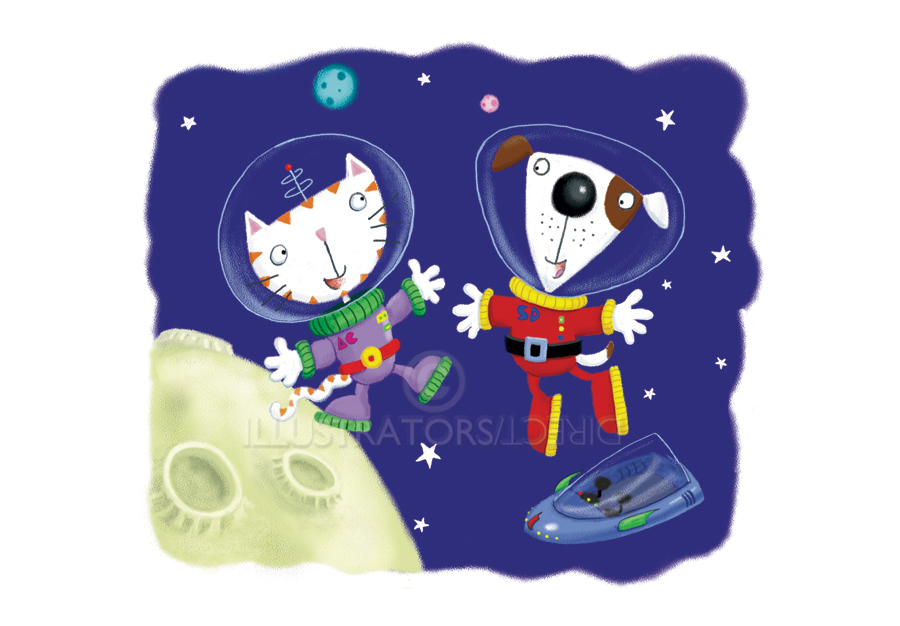 space cat, space dog, astronaut, animals