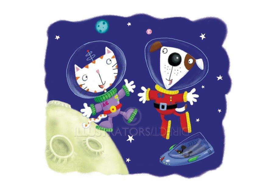 space cat, space dog, astronaut, animals