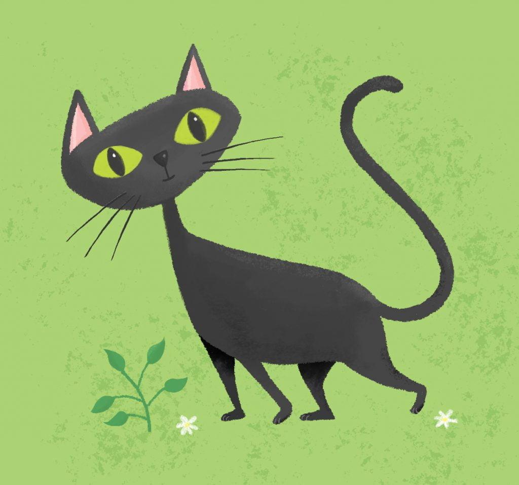 Black oriental cat cartoon.