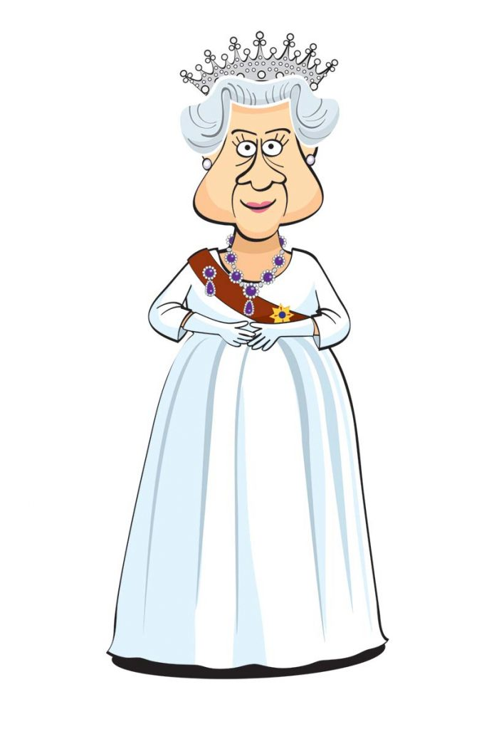Queen Elizabeth II caricature.
