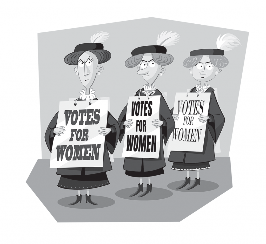 Suffragettes cartoon.