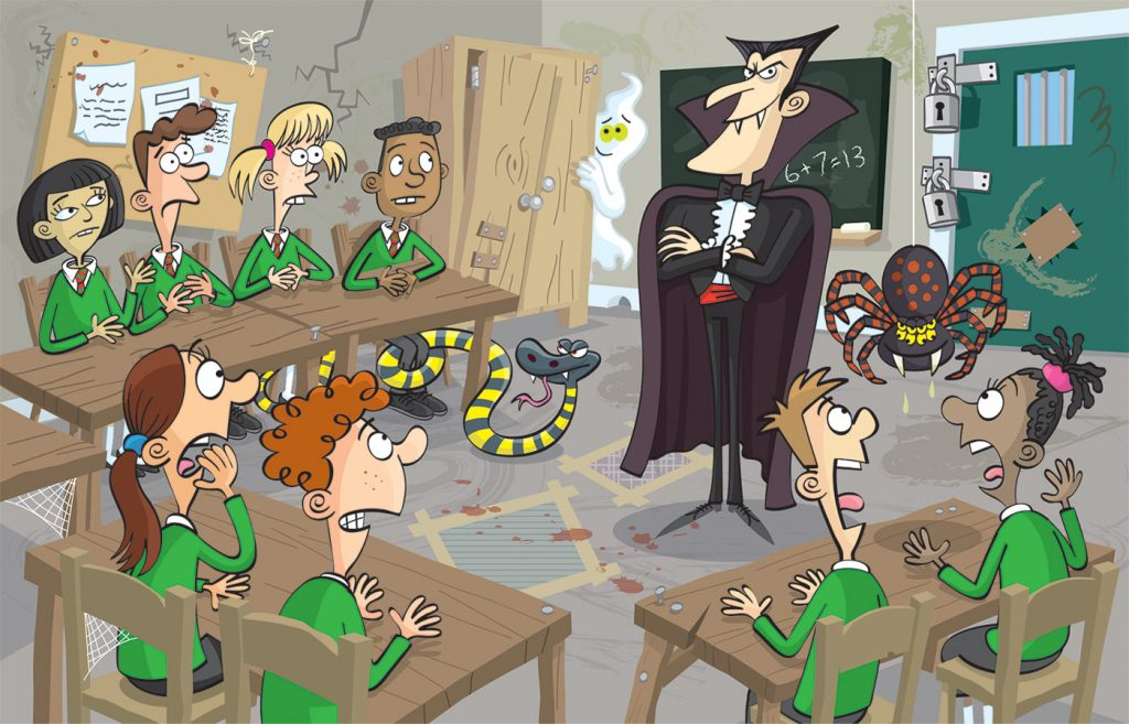 Vampire teacher, spooky classroom, scared children.