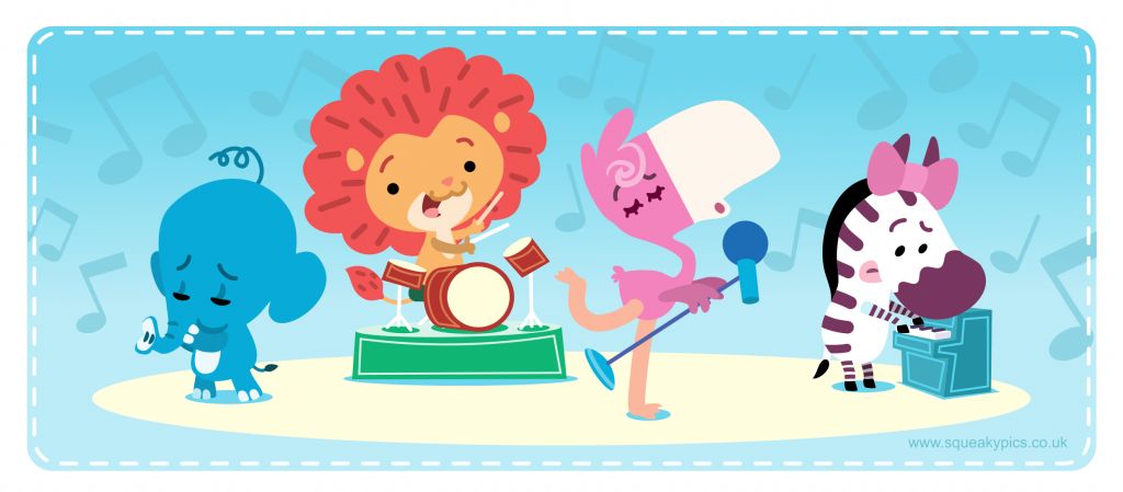 illustration of a cute animal band