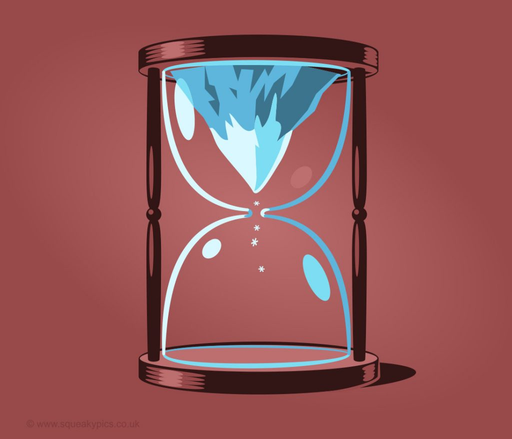 graphic illustration of a mountain in a hour glass.