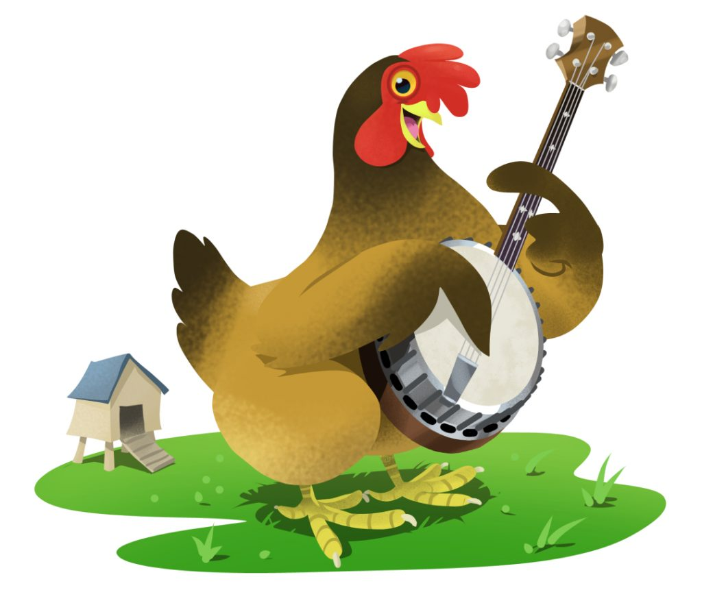 Illustration of a hen with a banjo