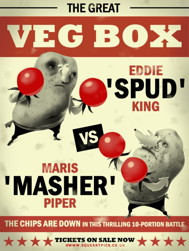 Illustration of a funny vintage boxing poster with boxing potatoes.