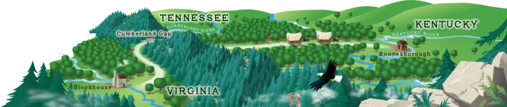 An illustrated map of the wilderness road.