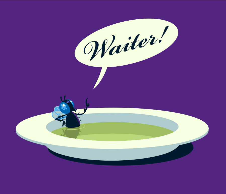 a funny graphic illustraton of a fly lounging in a bowl of soup calling for the waiter.