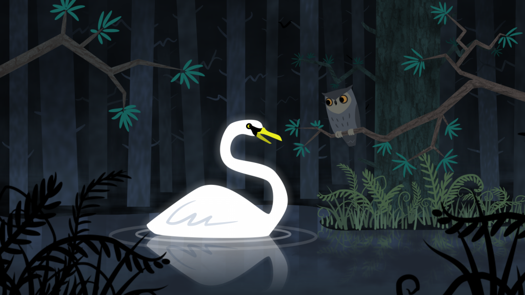 Concept illustration with an owl and glowing swan for an animated film.
