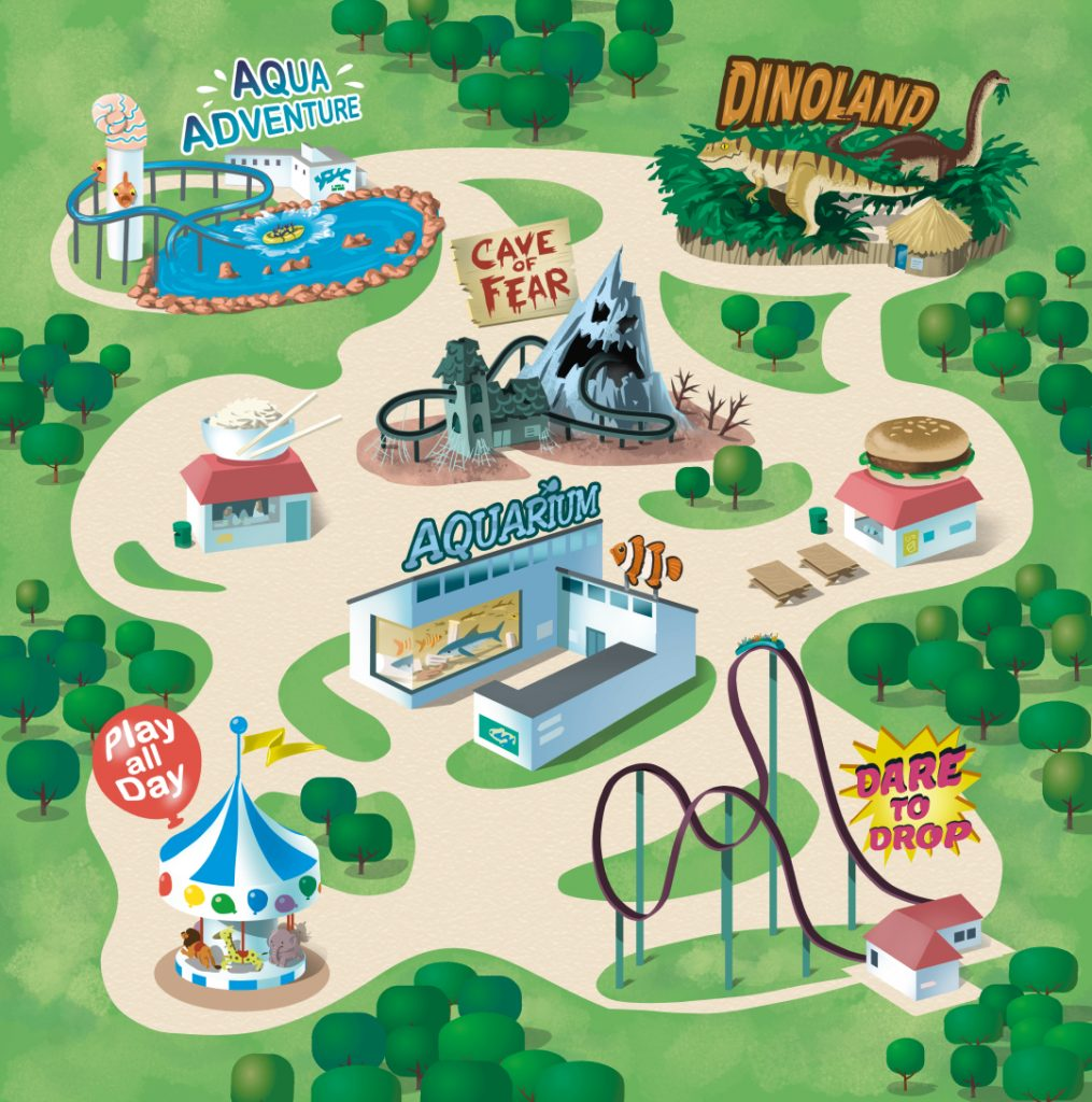 Illustratipn of a theme park map