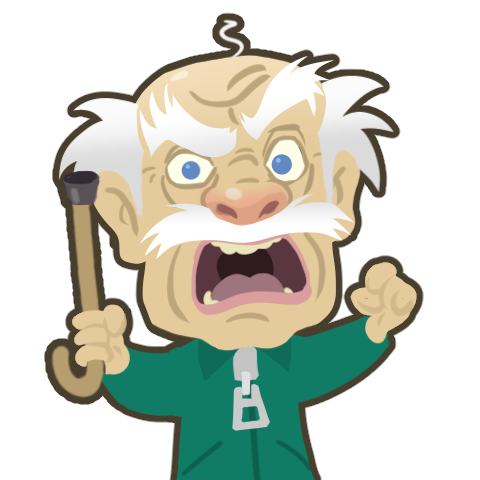 illustration of an angry old man. Design for an animated avatar.