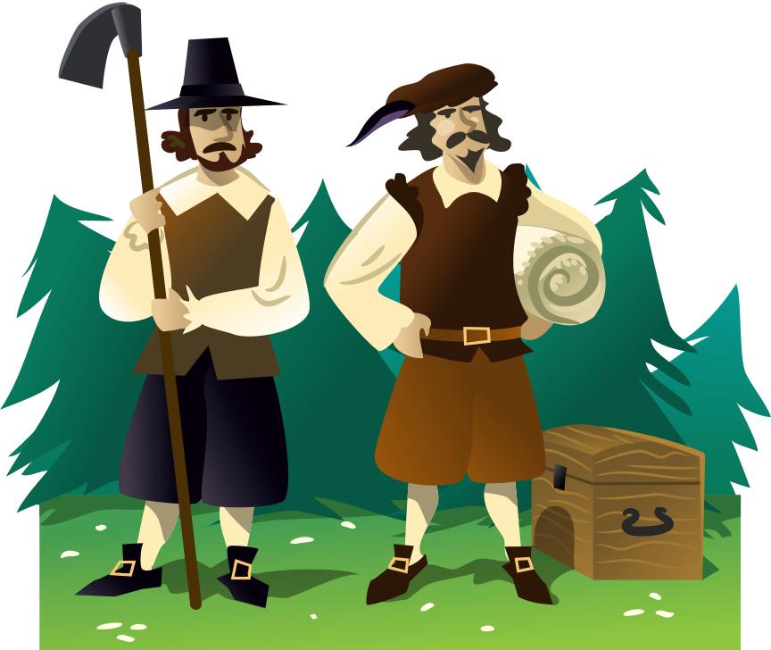 A graphic illustration of two early american settlers