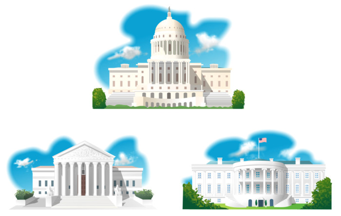 graphic illustrations of the USA's administration buildings