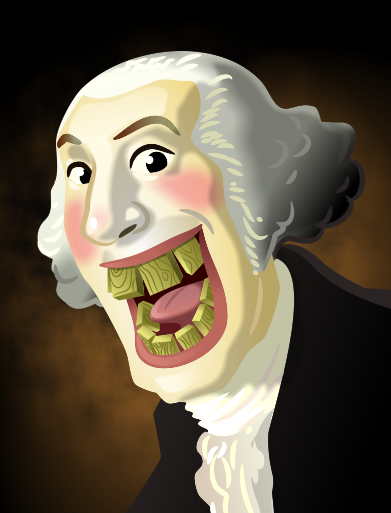 a humorous illustration of George Wasington showing his wooden teeth.