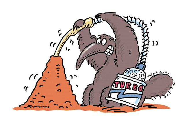 Anteater with vacuum.